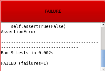 GUI Test Runner: Failure